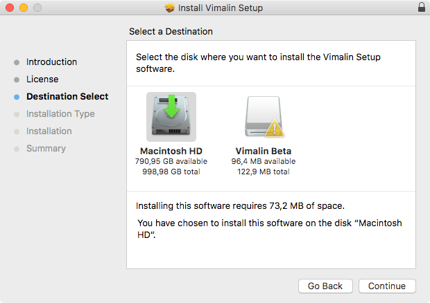 vimalin-install-destination-select