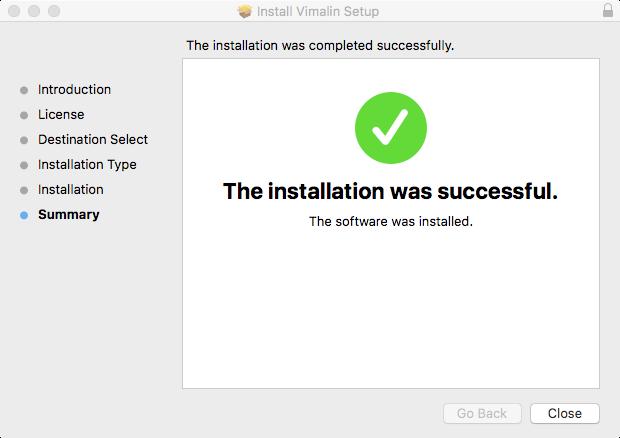 vimalin-install-success